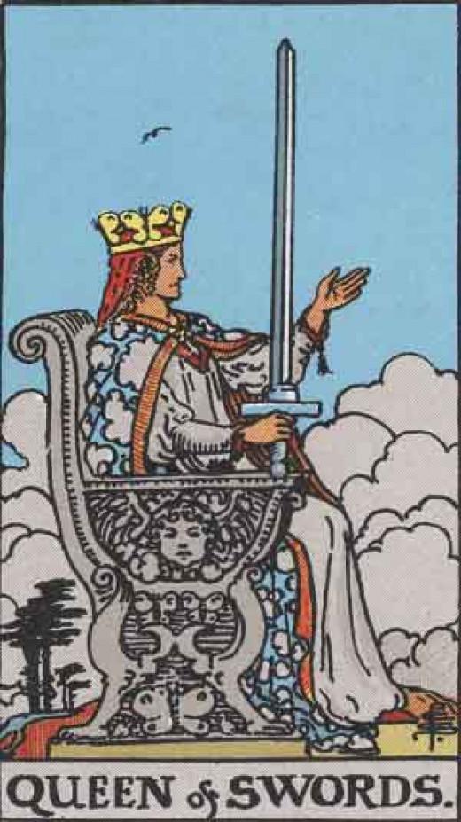 The Queen of Swords -  Rider-Waite tarot deck. Copyright-free  Pamela A version c1909.