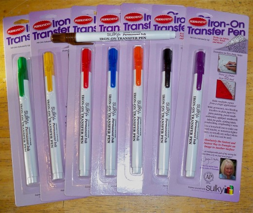 Sulky Transfers Pens can be used to iron-on designs that you draw, making painting them easy work.