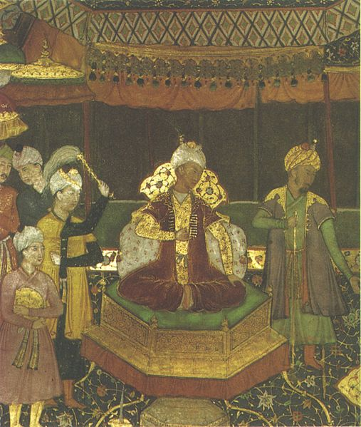 The first Mughal Emperor, Babur sat on his throne.
