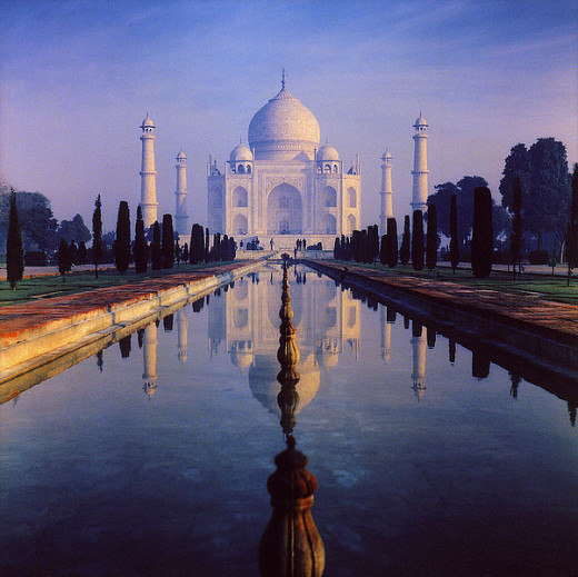 The Taj Mahal in Agra, India built by the emperor Shah Jahan.