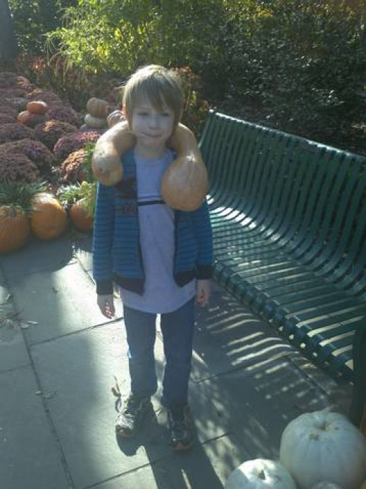 The well-dressed child will be wearing pumpkins this fall.