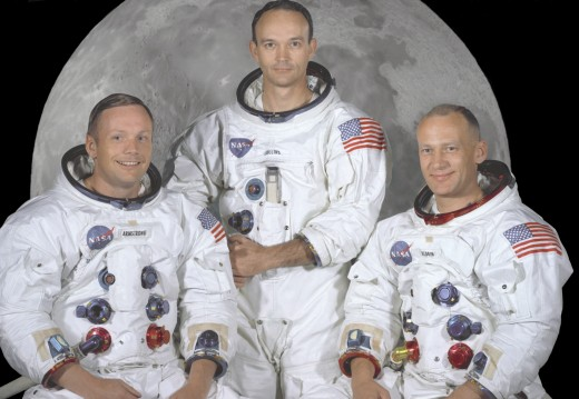 The crew of Apollo 11. From left to right - Neil Armstrong, Michael Collins and Buzz Aldrin.