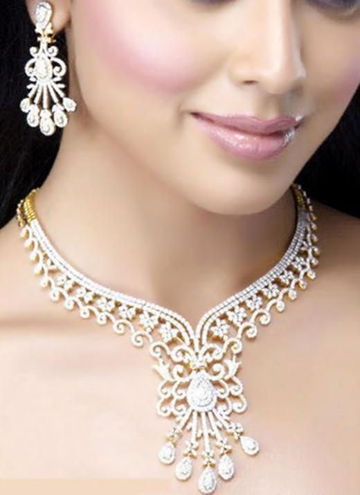 White Stone Bridal Necklace Set. Photo courtesy of Cbazaar.com