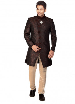 Smart Coffee Brown Jacquard Sherwani. Photo courtesy of Cbazaar.com