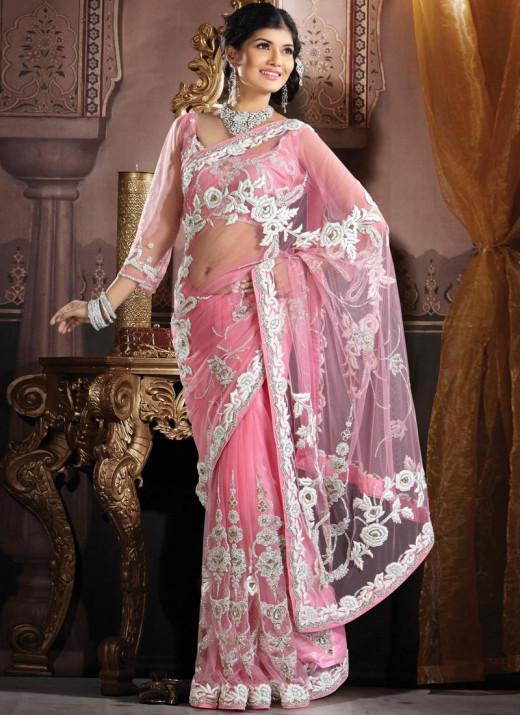 Embroidered Pink Net saree. Photo courtesy of Cbazaar.com.