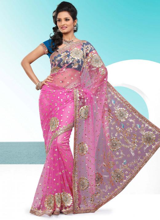 Pink Glam Applique Enhanced Net Saree. Photo courtesy of Cbazaar.com.
