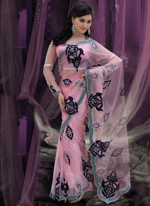 Pretty Pastel Pink Net Saree. Photo courtesy of Cbazaar.com.