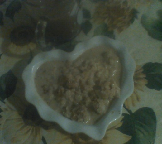 A heart-sized portion of pumpkin spice rice pudding with a cocoa chaser.