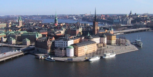 Nordelch took this photograph of Riddarholmen and Old Town in Stockholm, Sweden on Jan uary 8, 2005.