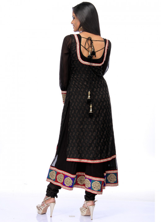 Striking Black Georgette Anarkali Suit. Photo courtesy of Cbazaar.com.