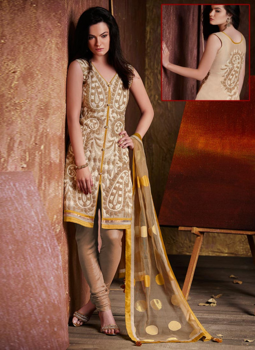 Simplistic Beige Embroidered Churidar Suit. Photo courtesy of Cbazaar.com.