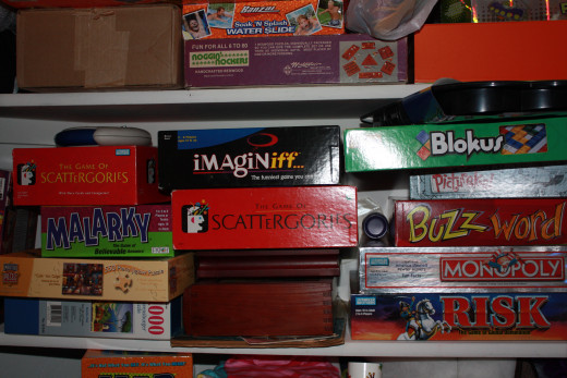 My game closet is overflowing!  We are ready for family game night.