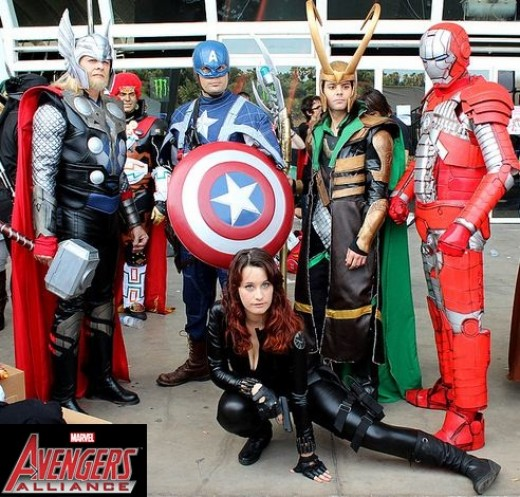 Thor, Captain America, Loki, Red Iron Man, Black Widow (bottom)