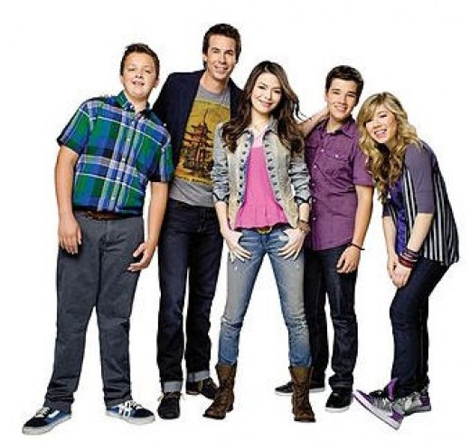 The cast of iCarly. The tall guy is Jerry Trainor, the dark hair girl-Miranda Cosgrove andthe blonde, Jennette McCurdy