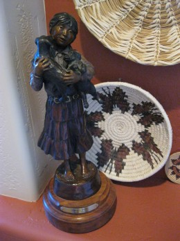 Small bronze by Susan Kliewer cowgirl artist who has won a number of awards at the Cowgirl Up shows.