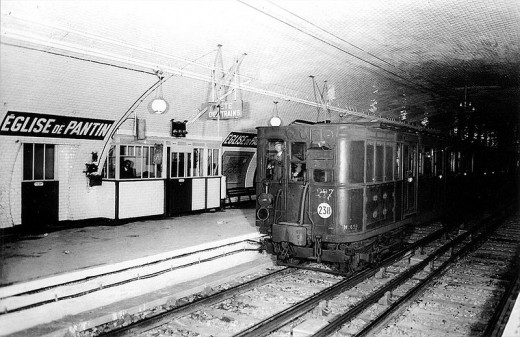 "1942 : Parisian underground transportation system : ""Metropolitain"" still very much in existence today, only with modern trains"