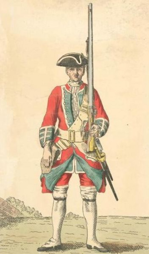 The typical battle dress for a British infantrymen from the mid 18th century onwards.