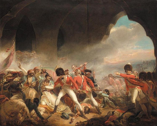This painting depicts the Tippoo Sultan fighting till the last, while his fortress falls into British hands.