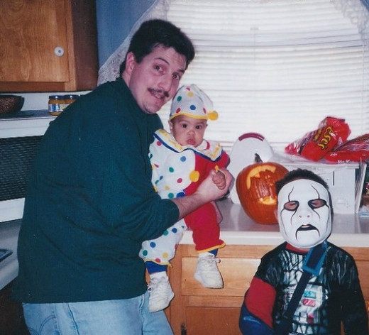The author and his sons, Halloween 1999. Notice that the author has no gray hair ... yet.