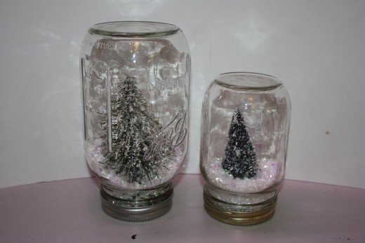 Both tree snow globes are almost done