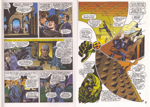 A page drawn by John Buscema (left) and one by Jim Steranko show how the look of the Nick Fury strip changed during Steranko's run.
