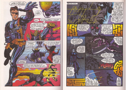 Pages illustrating Steranko's dynamic style. On the left is Nick Fury's new costume, and the panels on the page to the right actually change orientation as Fury moves through the maze.