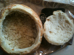 Hollow Out the Bread Bowl - Save the Bread Pieces