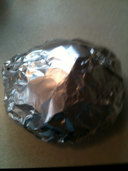 Bread Bowl Wrapped in Foil - Ready for the oven