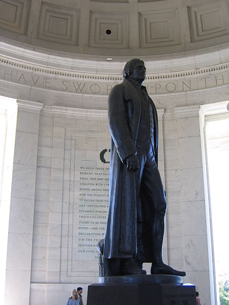 This statue of Thomas Jefferson in the Jefferson Memorial was photographed by Patricksheridan on December 9, 2005.