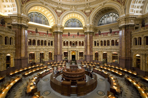 The Main Reading Room of the Library of Congress in the Thomas Jefferson Building was photographed by Carol M. Highsmith in 2009.