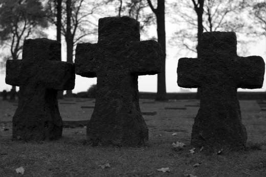 Simply black; Langemark German Military Cemetery, Langemark (Belgium)