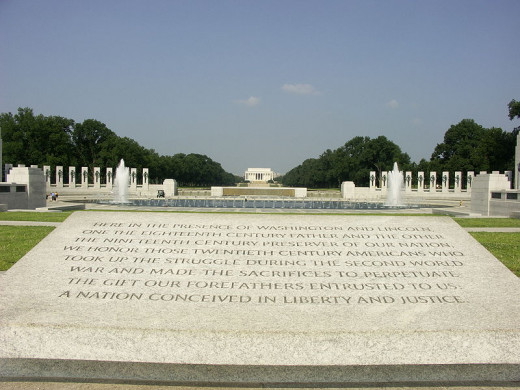 The National World War II Memorial and the Lincoln Memorial were photographed from the tower of the Washington Monument by snty-tact on July 26, 2006.