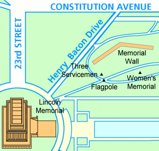 This map of the Vietnam Veterans Memorial was created by Srbauer from a much larger map on March 3, 2005.