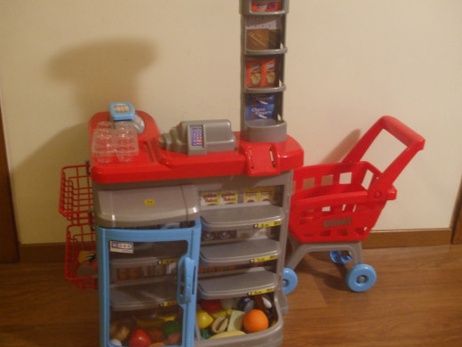 The ELC Supermarket and Trolley after a few months of use