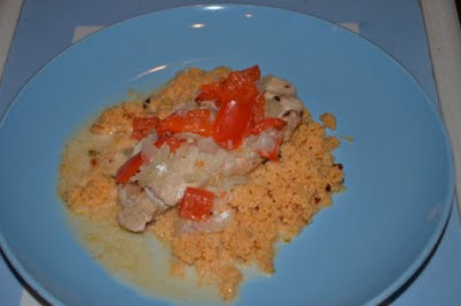 Pork Loin with Sour Cream Sauce and Couscous, mad in the Slow Cooker