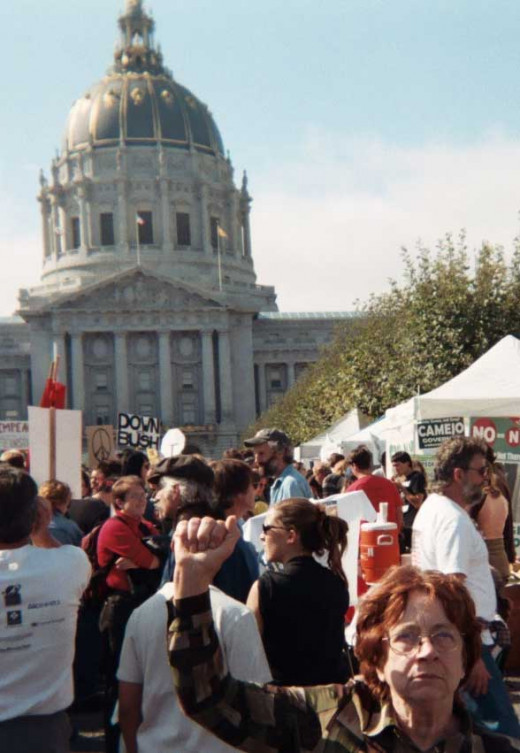 60,000-200,000 protesters of various ages demonstrated in San Francisco, 15 February 2003