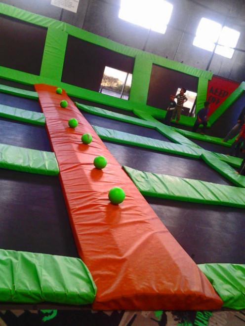 Dodgeball balls set up and ready to play at Absolute Air Park