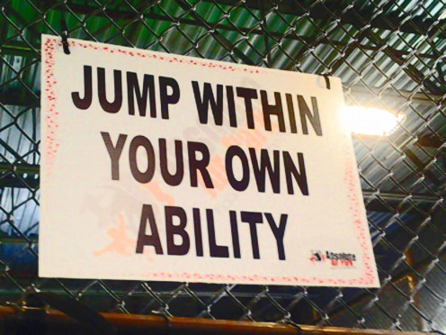 Sign at Absolute Air Park. You don't have to be an expert to have fun.