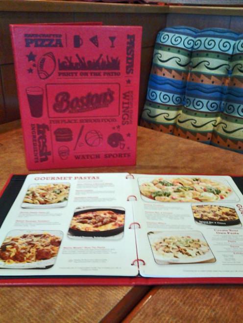 The menu at Boston's Restaurant and Sports Bar