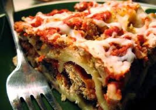 Lasagna is made with beef, sausage and lots of cheese. You can also substitute meat for fresh chicken which is tasty indeed.