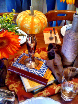 Use a combination of items in your house to create a centerpiece