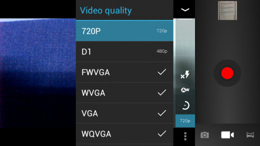 Video recording options