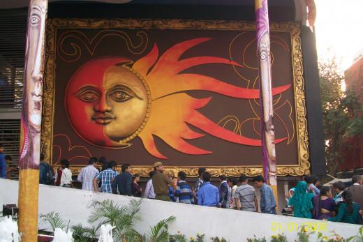 The Sun painting on canvas, IITF, Pragati Maidan, New Delhi