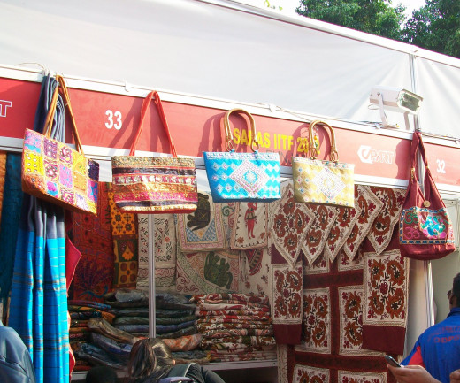 The colourful  hand bags displayed at IITF, New Delhi