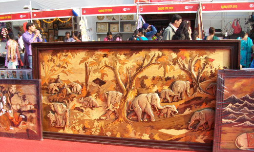 The magnificent hand made  wooden carving, IITF, New Delhi