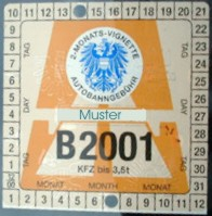 Example of a Austria Vignette for 2 months in 2001