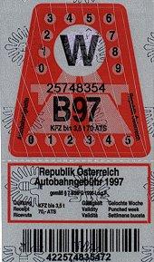 Example of a Austria Vignette in 1997