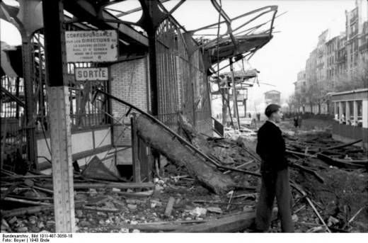 December 1943. Destroyed train station of Courvevoie-Becon les Bruyeres, just outside Paris
