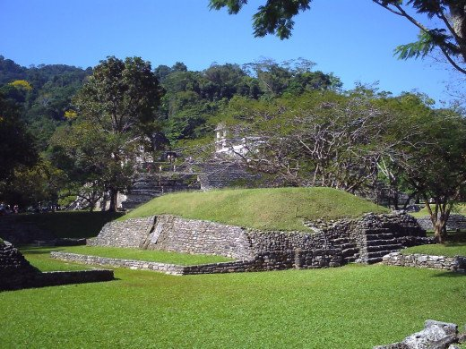 Ball Court with the Palacio in the background.