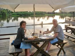 Having Dinner at Rim Nam Restaurant